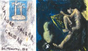 Calore calore 1993, tecnica mista su carta. Figura nella notte opera su carta anni '90.